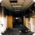 Image of a fire damaged property where There-to-Repair responded quickly to mitigate fire damage, remove materials damaged by fire and smoke, deodorize affected areas and completely restore the building to like new condition